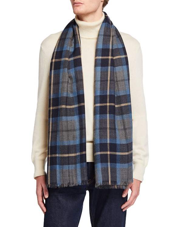 Loro Piana Men's Baily Plaid Cashmere Scarf In Blue/gray