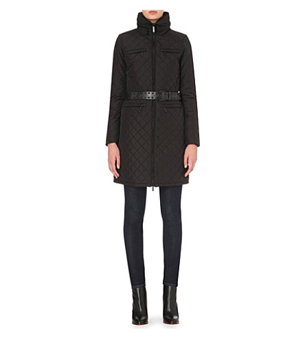 Michael Michael Kors Belted Quilted Coat In Black
