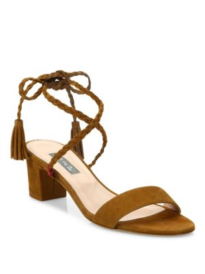 Sjp By Sarah Jessica Parker Elope Suede Lace-up Sandals In Cognac
