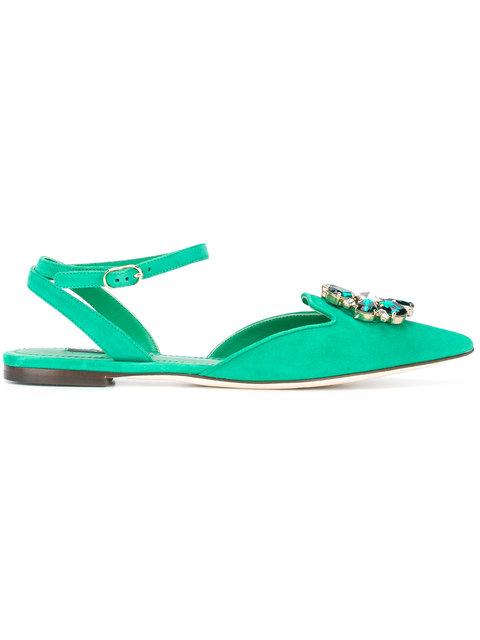 Dolce & Gabbana Woman Bellucci Crystal-embellished Suede Point-toe Flats Jade In Foglia