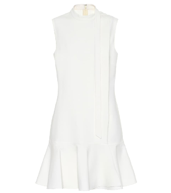 Valentino Tie Neck Ruffle Hem Wool Blend Minidress In White
