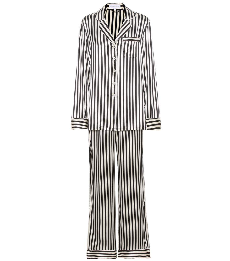 Olivia Von Halle Lila Nika Striped Silk-Satin Pyjamas In Black/ Ivory
