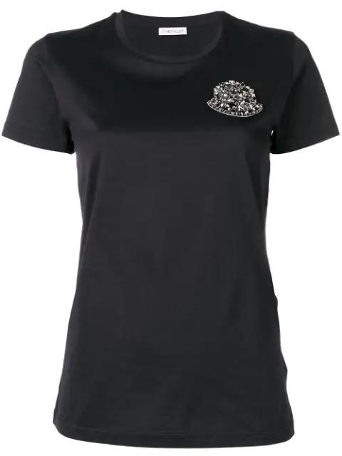 Moncler Embellished Logo AppliquÉ T-Shirt In Black