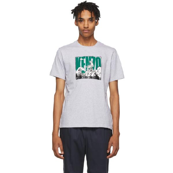 Kenzo Cotton Tiger Mountain T-Shirt In 94 Prlgrey
