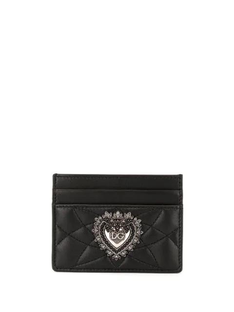Dolce & Gabbana Devotion Embellished Cardholder In Black