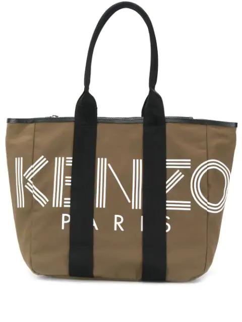 Kenzo Logo Print Tote Bag In Green