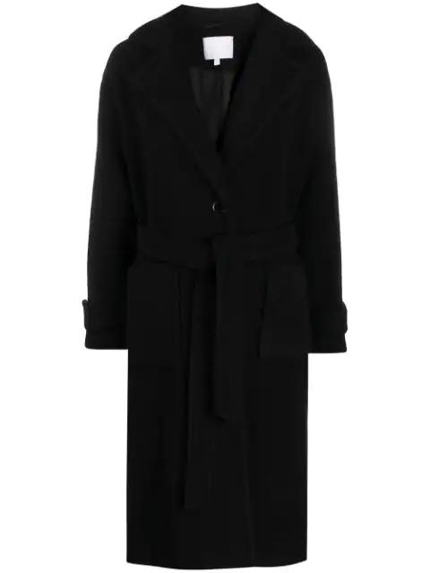 Lala Berlin Textured Belted Coat In Black