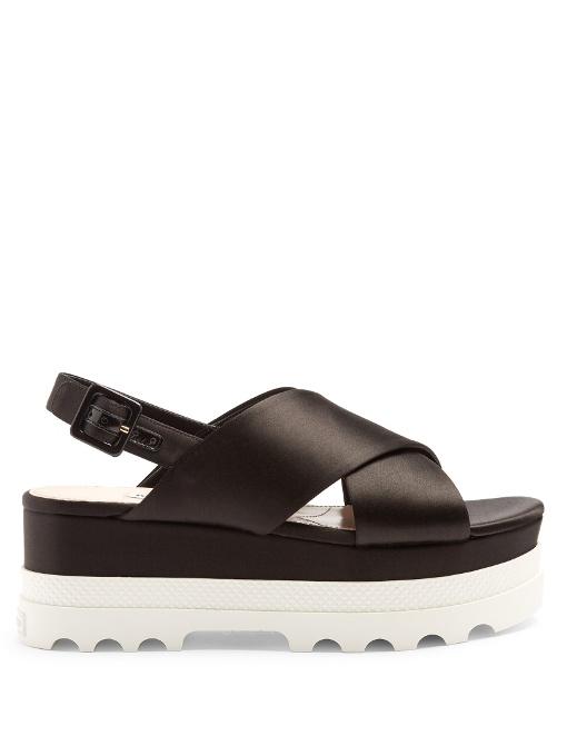 Miu Miu Crossover Satin Flatform Sandals In Black