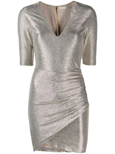 Alice And Olivia Textured Metallic Dress In Gold