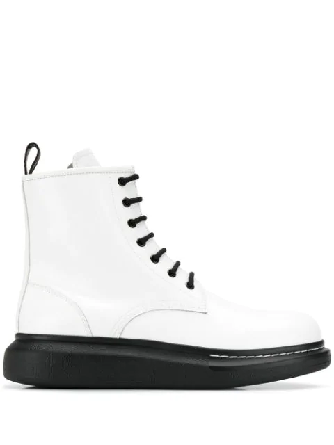 Alexander Mcqueen White Leather Ankle Boots