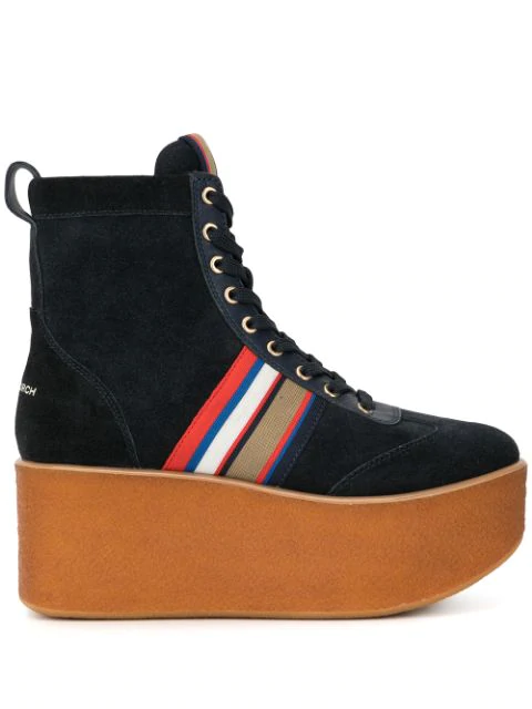 Tory Burch Striped High-Top Platform Sneakers Boots In Blue