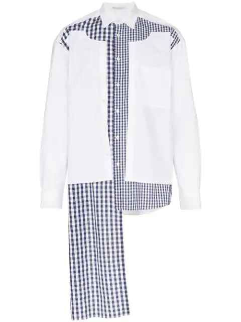 Jw Anderson Double Placket Gingham Patchwork Shirt In White