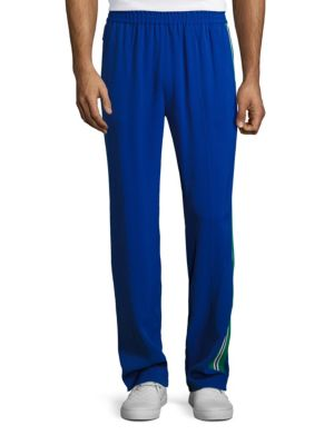Msgm Striped Elastic Waist Track Pants In Blue