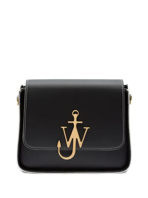 Jw Anderson Anchor Logo Leather Box Crossbody Bag In 999 Black