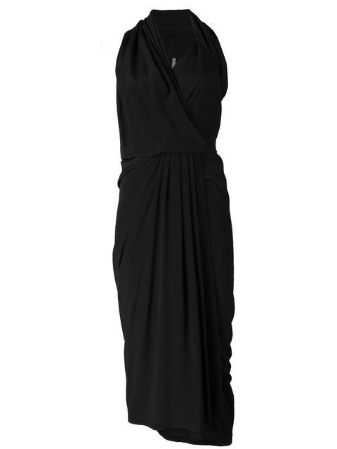 Rick Owens Woman Limo Velvet Maxi Wrap Dress Black