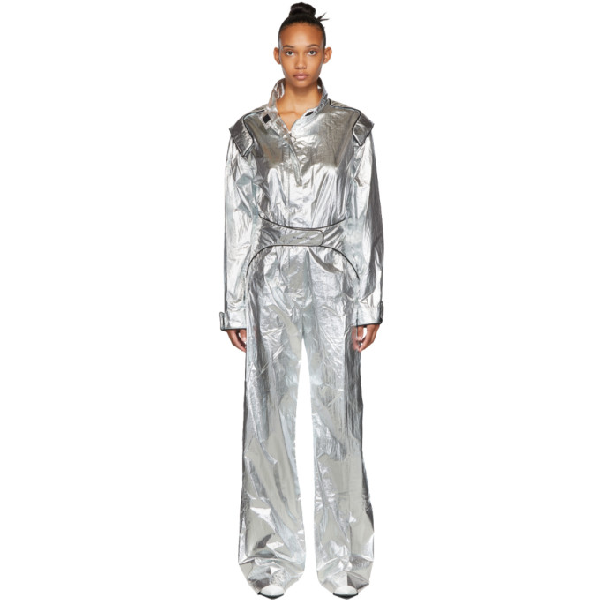 Off-white Racing Metallic Effect Jumpsuit In Silver