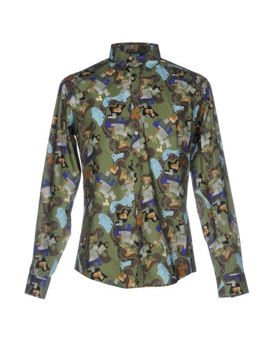Msgm Patterned Shirt In Military Green