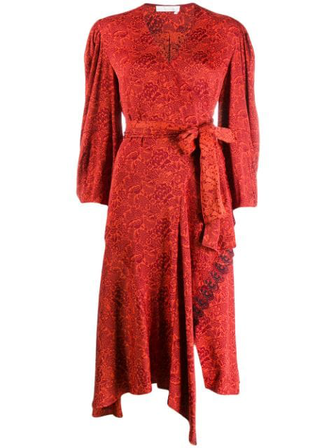 ChloÉ Asymmetric Embroidered Floral-jacquard Wrap Dress In Red