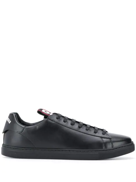 Dsquared2 Leather Evolution Low-Top Sneakers In Black
