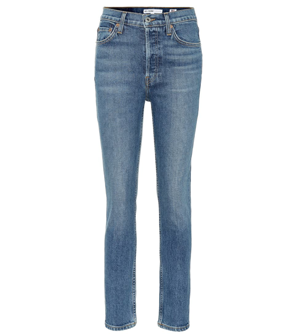 Re/done Cropped High-rise Skinny Jeans In Blue