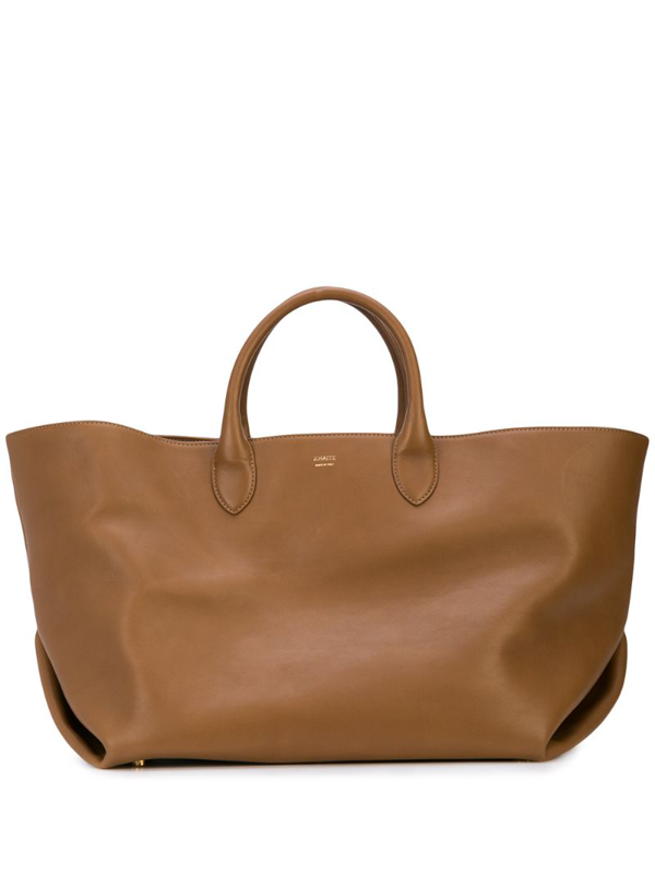 Khaite Envelope Pleat Medium Leather Tote In Camel