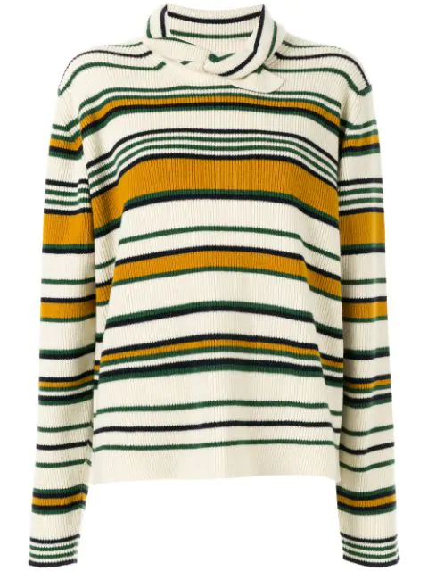 Jw Anderson Striped High Neck Sweater In Brown