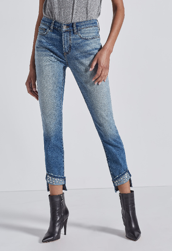 Current Elliott The Turnt Ankle Skinny Stiletto Jeans In Keeling W,Studded Cuff