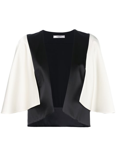 Lanvin Woman Cape-effect Two-tone Satin Jacket Ivory In White