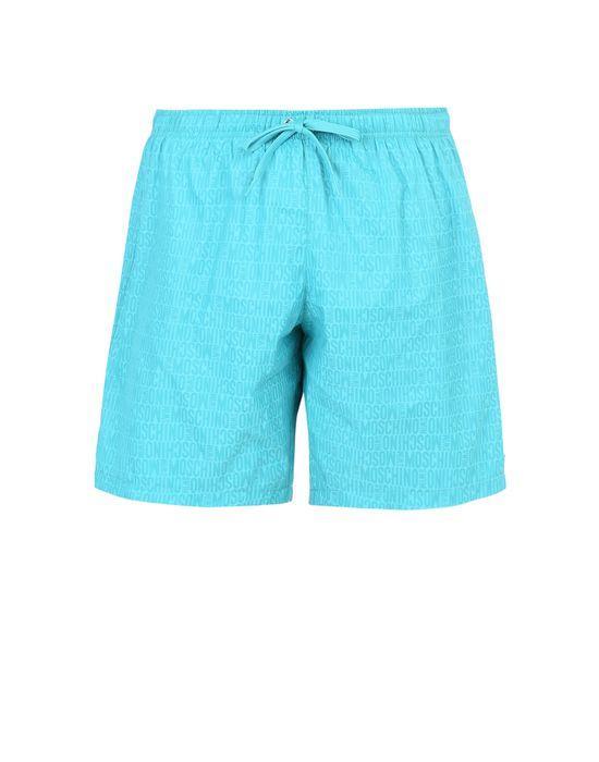 Moschino Logo Print Swim Shorts In Turquoise