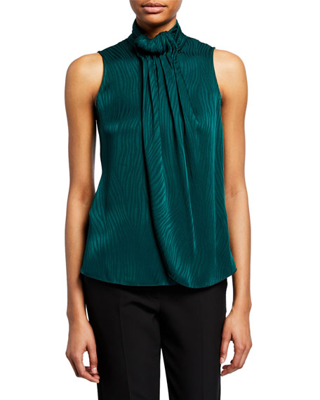 Armani Collezioni Emporio Armani Pleated & Draped Animal-print Top In Green