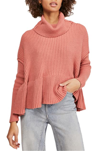 Free People Layer Cake Trapeze Turtleneck Sweater In Rose