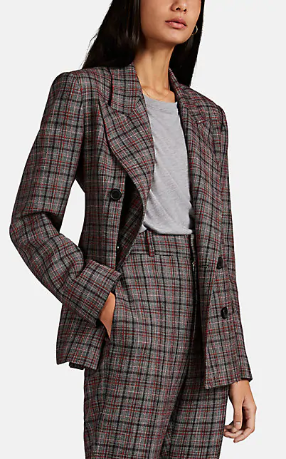 Isabel Marant Dallin Fitted Check Wool Blend Jacket In Blue