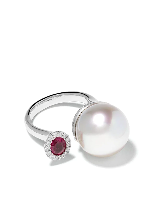 Yoko London 18kt White Gold Belgravia South Sea Pearl, Diamond And Ruby Ring In 7