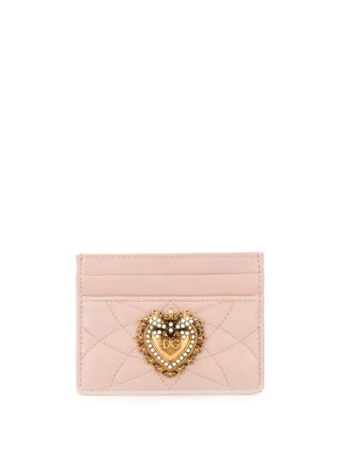 Dolce & Gabbana Devotion Embellished Cardholder In Pink