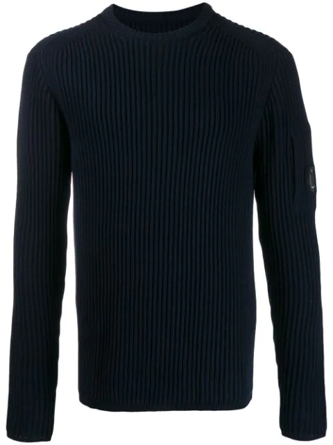 C.p. Company Lens Detail Turtleneck Jumper In Blue
