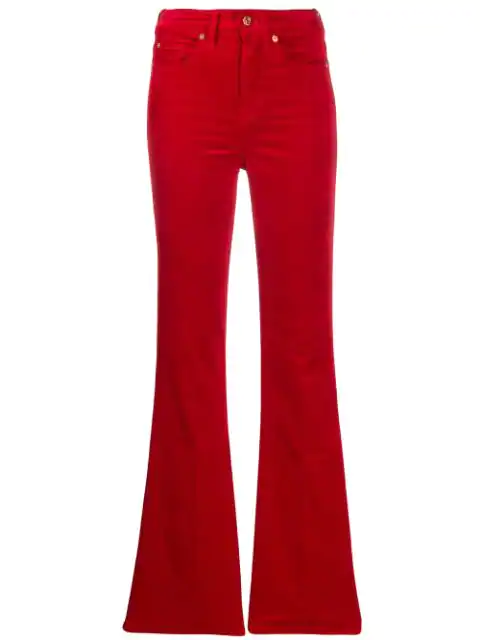 7 For All Mankind Flared Slim Jeans In Red