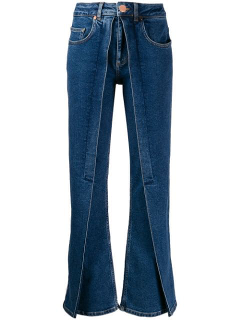 Aalto Panelled Flared Jeans In Blue