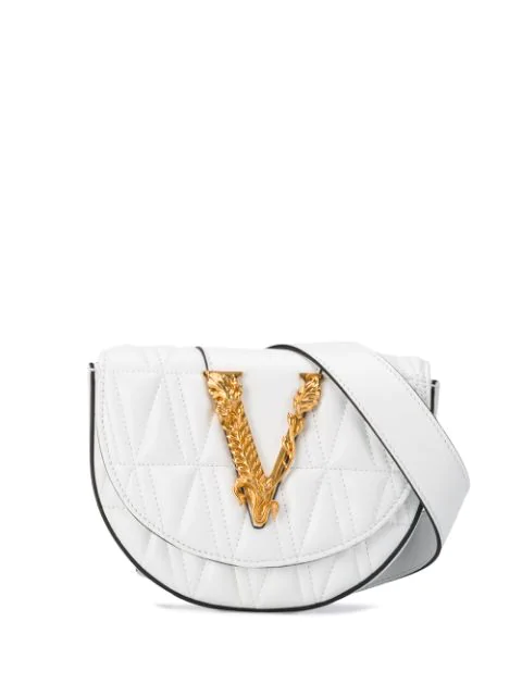 Versace Quilted V Belt Bag In White