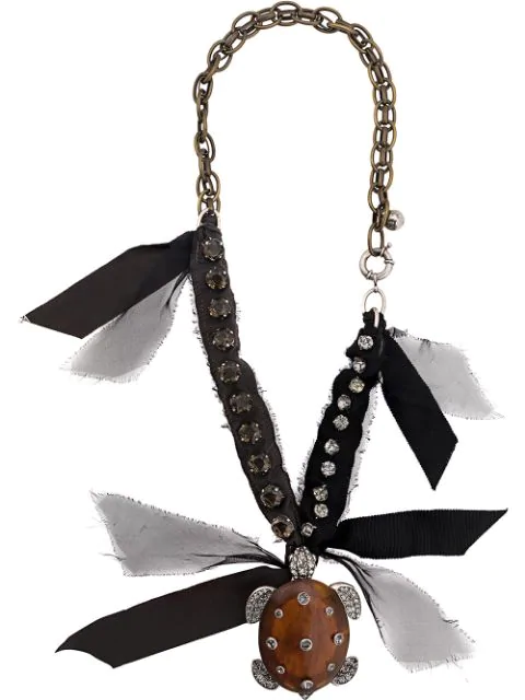 Lanvin Turtle Crystal Pendant Necklace In Brown
