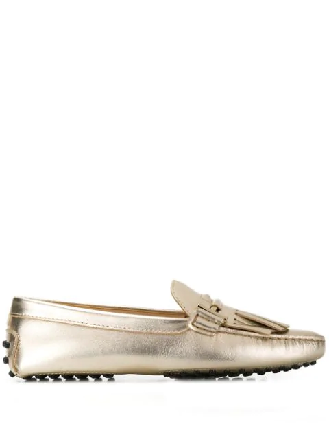 Tod's Fringed Driving Loafers In Gold