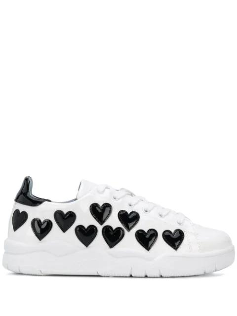 Chiara Ferragni Hearts Low-top Sneakers In Hearts Blac