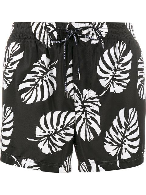 Dolce & Gabbana Slim-fit Mid-length Leaf-print Swim Shorts In Black