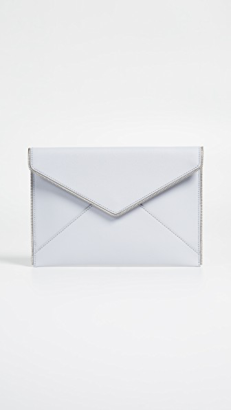 Rebecca Minkoff Croc Embossed Leather Leo Envelope Clutch In Ice Grey