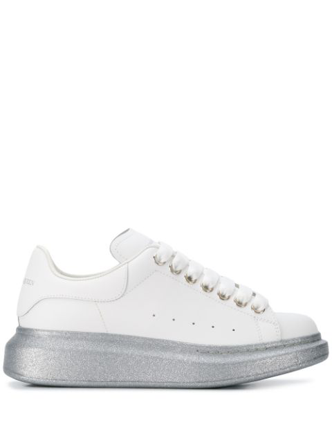 Alexander Mcqueen 'Oversized Sneaker' In Leather With Glitter Outsole In White