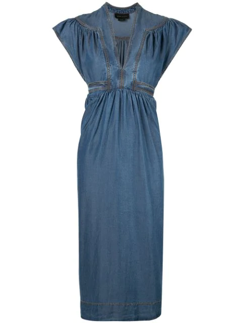 Karen Walker Bayou Midi Dress In Blue