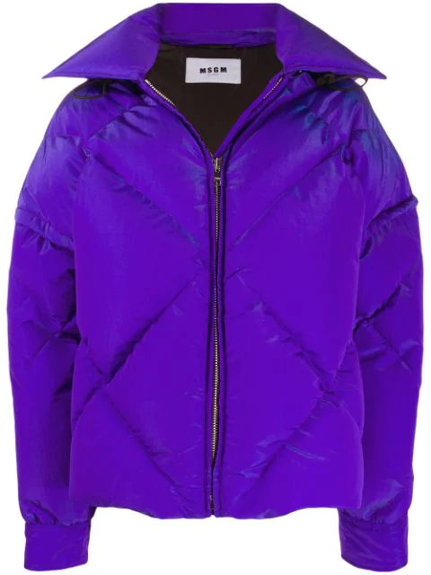 Msgm Hooded Padded Jacket In Purple
