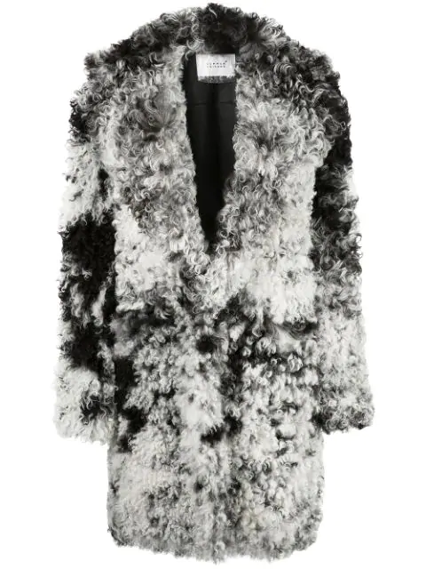Common Leisure Oversized Shearling Coat In Black