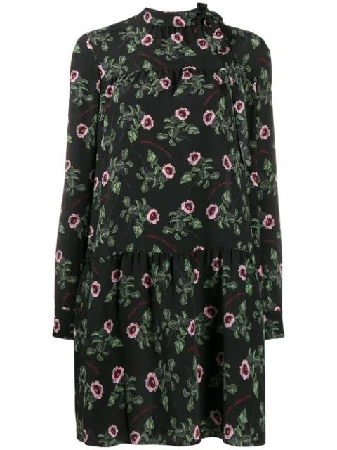 Valentino X Undercover Floral Silk Dress In Black