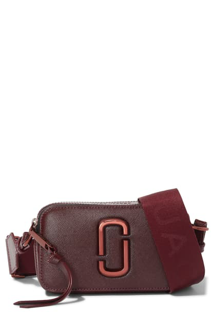 Marc Jacobs The Snapshot Dtm Anodized Crossbody Bag In Wine