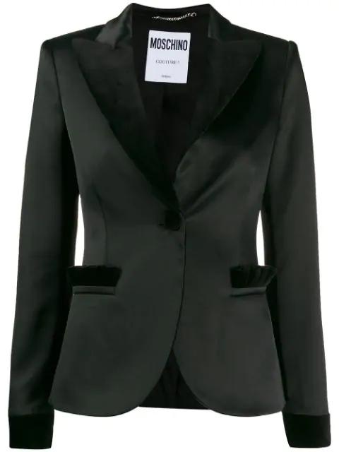 Moschino Velvet Detailed Satin Blazer In Black